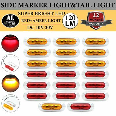 20x 4 LED Clearance Lamp 10 Amber 10 Red Side Marker Light Truck Boat Tow Marine