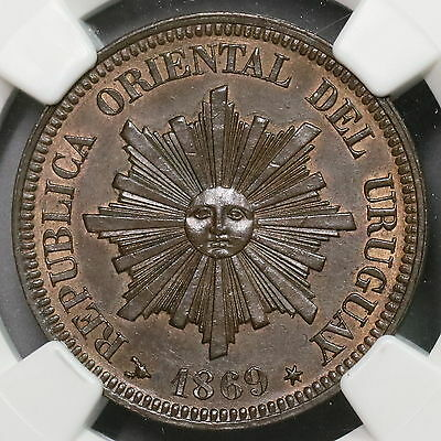 1869-H NGC MS 64 URUGUAY Sunface Copper 2 Centimos Heaton Mint Coin (16110301C)
