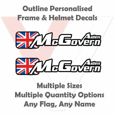 Outline Personalised Bike Stickers Frame and Helmet - Name Decals - Upgraded