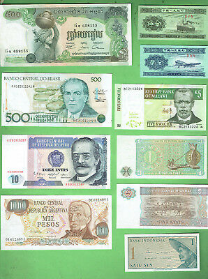 #d343.  1.   Ten  World  Banknotes