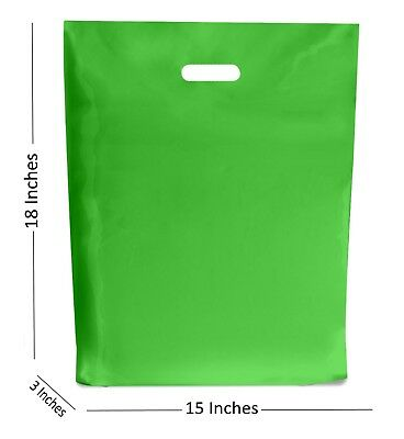10 LARGE APPLE GREEN PLASTIC BAGS BOUTIQUE GIFT SHOP CARRIER BAG 15x18+3 INCHES