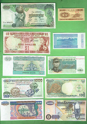 #d343.  7.   Ten  World  Banknotes