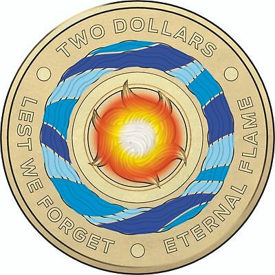 2018 $2 'Lest We Forget' Eternal Flame Coloured Coin Removed from a Mint roll