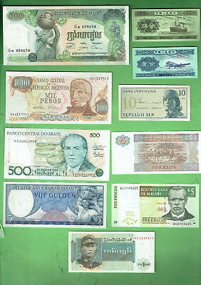 #d343.  9.   Ten  World  Banknotes
