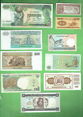 #d343.  11.   Ten  World  Banknotes