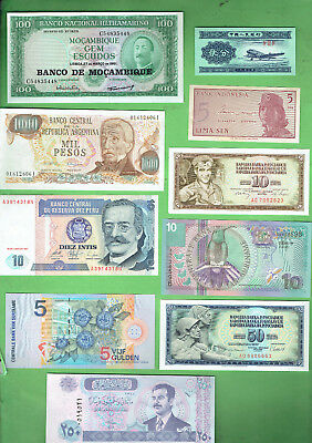 #d343.  12.   Ten  World  Banknotes