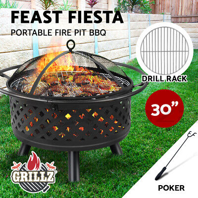 """Grillz 30"""" Portable Outdoor Fire Pit BBQ Grill Patio Heater Garden Fireplace"""