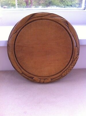 LOVELY DEEPLY CARVED 19th CENTURY BREAD BOARD - BOW & EARS of WHEAT 12 inch