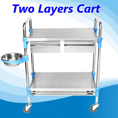 Stainless Steel Two Layer Drawer Hospital Medical Dental Lab Cart Trolley Silver