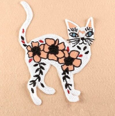 30CM Embroidery Sequins Cat Cloth Patch Iron On Patch Sew Motif Applique Patch
