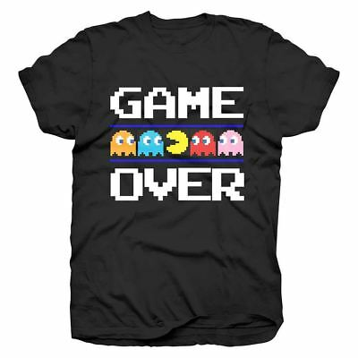 Official Men's Retro Pac-Man Game Over Black T-Shirt - Various Sizes