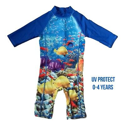 Boys Baby Kids Swimsuit 1 Piece Long Sleeve Sun Safe Swimming Costume UV NEW