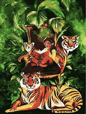 TIGER TRIBE PAINTING PAINT BY NUMBERS CANVAS KIT 12 x 16 ins FRAMELESS New