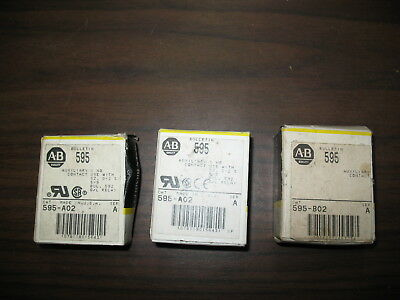 New Lot of 3 Allen Bradley 595 Auxiliary Contacts (Two 595-A02 and One 595-B02)