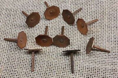 "10 old COPPER TACKS 5/8"" 8 sided hexagon nails vintage tarnished leather rivets"
