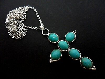 "A Lovely Tibetan Silver Cross/Crucifix Turquoise Bead Necklace. 24"" Chain"