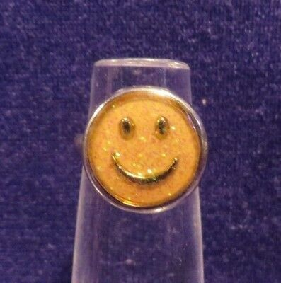 Vintage Silvertone Ring Yellow Glitter Smiley Face Adjustable Size 5