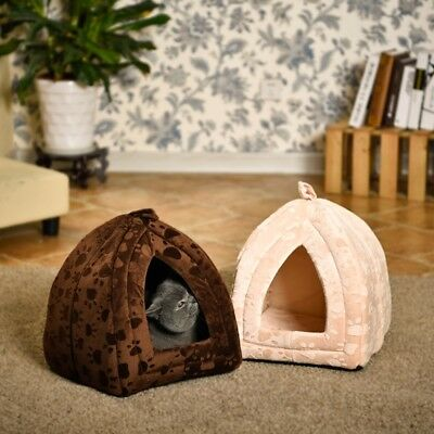 Pet Dog Cat Bed Small Warm Igloo Nest House Puppy Tapered Paw Print Kennel Mats