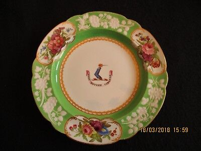 """VICTORIAN SPODE ARMORIAL 8.5"""" PLATE 'Nemo Potest Vincere' HAND-PAINTED c.1900 EX"""