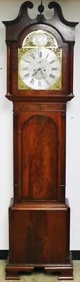 Antique English Flame Mahogany 3Weight Musical 8 Bell Grandfather Longcase Clock