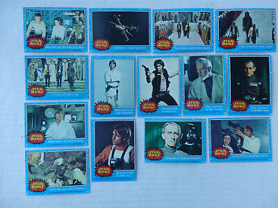Lot of 14 First Series Star Wars Cards 1977 Blue Borders #52-61 and 63-66