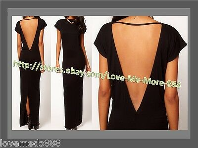 XL Sexy New Womens V backless back short sleeve Maxi Long club party Dress BLACK