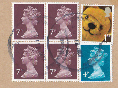 GB 1st class Teddy Bear Smilers booklet stamp used plus 7p block of 4 & 4p stamp