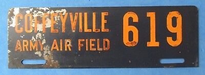 WWII U.S. Army Air Corps COFFEYVILLE Kansas ARMY AIR FIELD License Plate #619