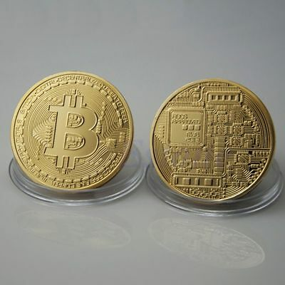 2X Bitcoin Gold Plated Physical Commemorative Bitcoin In Protective Acrylic Case