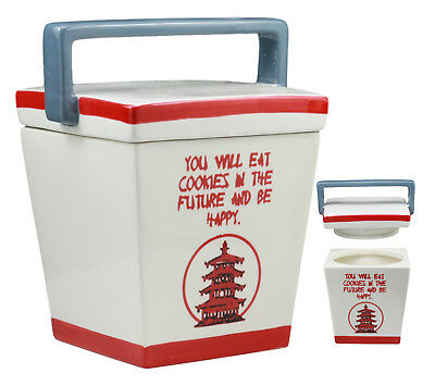 """Ceramic Chinese Food Take Out Box Cookie Jar With Seal Tight Lid 8.5""""H Decor"""
