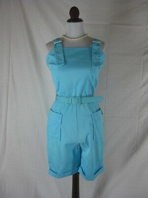 Vtg 50s 60s Monique Womens Vintage Turquoise NOS Dead Stock Jumpsuit Catsuit W28
