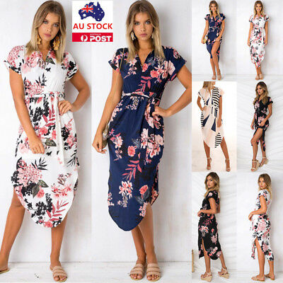 Summer Women V Neck Floral Short Sleeve Dress Party Beach Side Split Sundress