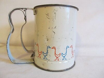1950's Androck White Handheld Flour Sifter with Red & Blue Ducks~Low Shipping