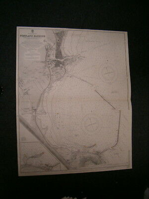 Vintage Admiralty Chart 2268 - ENGLAND - PORTLAND HARBOUR 1919 edn - 99 YRS OLD
