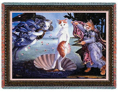 Throw Tapestry Afghan - Kitty On The Half Shell 1885