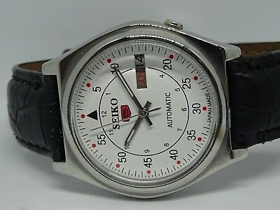 Vintage Seiko 5 Automatic Day&date White Color Dial Numeric Figure Work Watch