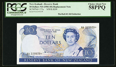 New Zealand Reserve Bank $10 (1981-85) Hardie Replacement Pick 172A, Pcgs-58-Ppq