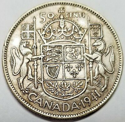 Canada 1941 Silver Fifty Cents George VI KM #36 VF Free Shipping