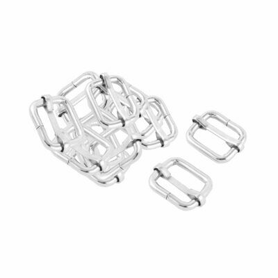 Rectangle Metal Buckle Clip Fastener Silver BF060 per pack of 2
