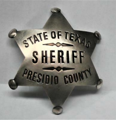 Reproduced Aged - State Texas SHERIFF<>  Presidio County <> Badge 6 Pt Star