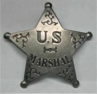 Reproduced Aged - Ornate US MARSHALL  <> 5 Point Star Badge <> Silver Color