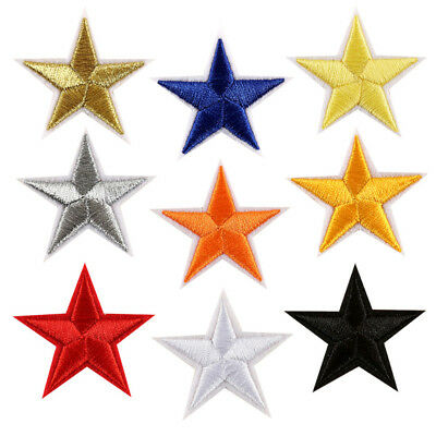 Lot 10/50pcs Star Iron on/ Sew on Embroidery Patches Fabric Applique DIY Craft