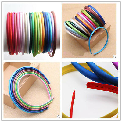 10 Candy Mixed Color Plastic Headband Covered Satin Hair Band 10mm for DIY Craft