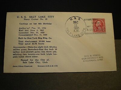 USS SALT LAKE CITY CA-25 Naval Cover 1935 HARRINGTON Cachet