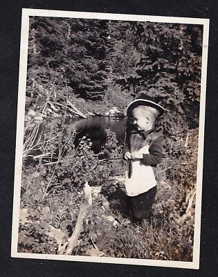 Vintage Antique Photograph Little Boy in Cowboy Hat Standing in Brush by Water