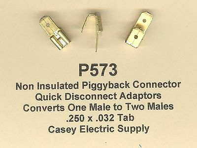 """10 Double Male PIGGYBACK QD Adapter Terminal Connector (1/4"""") .250 x .032 Tab"""