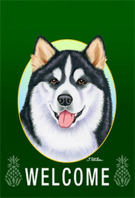Garden Indoor/Outdoor Welcome Flag (Green) - Alaskan Malamute 741471
