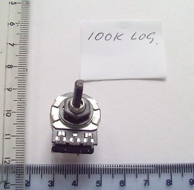 100k Log UK. Made Omeg Small Potentiometer, With Switch, 4mm D Shape Spindle