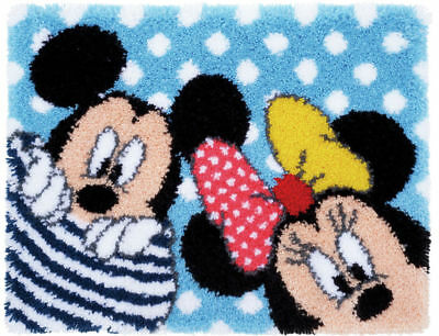 Latch Hook Rug: Mickey & Minnie - Peek-a-boo. A Disney Kit By Vervaco 68x53cm