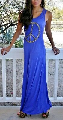 Sexy Royal Blue Leopard Peace Sign Animal Print Boho Maxi Dress Sundress S M Usa